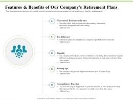 Features And Benefits Of Our Companys Retirement Plans Investment Plans Ppt Layouts Example