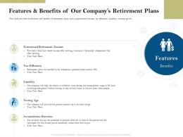 Features And Benefits Of Our Companys Retirement Plans Pension Plans Ppt Themes