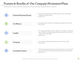 Features And Benefits Of Our Companys Retirement Plans Ppt File Guidelines