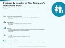 Features Benefits Our Companys Retirement Plans Social Pension Ppt Infographics