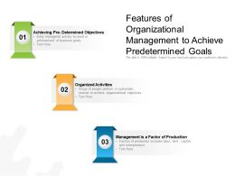 Features Of Organizational Management To Achieve Predetermined Goals