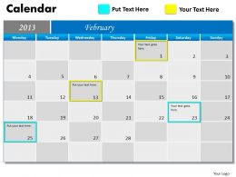 February 2013 Calendar PowerPoint Slides PPT templates