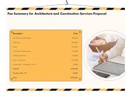 Fee Summary For Architecture And Construction Services Proposal Ppt Powerpoint Icon