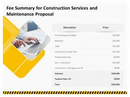 Fee Summary For Construction Services And Maintenance Proposal Ppt Ideas