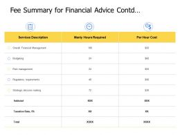 Fee Summary For Financial Advice Contd Management Powerpoint Presentation Elements
