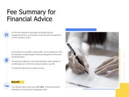 Fee Summary For Financial Advice Ppt Powerpoint Presentation Display