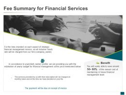 Fee Summary For Financial Services Profile Ppt Powerpoint Presentation Outline Icons