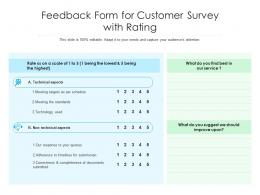Feedback Form For Customer Survey With Rating