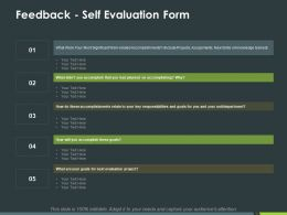 Feedback Self Evaluation Form Ppt Powerpoint Presentation Inspiration Icon