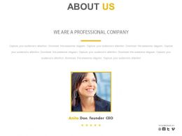 Female Ceo Company Profile About Us Powerpoint Slides