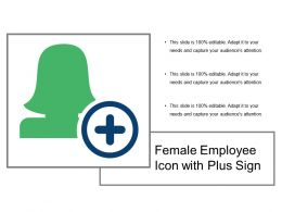 Female Employee Icon With Plus Sign