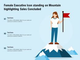 Female Executive Icon Standing On Mountain Highlighting Sales Concluded