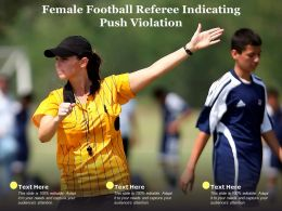 Female Football Referee Indicating Push Violation