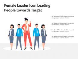 Female Leader Icon Leading People Towards Target