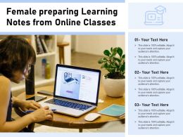 Female Preparing Learning Notes From Online Classes
