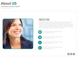 Female Profile With Icons For About Us Powerpoint Slides