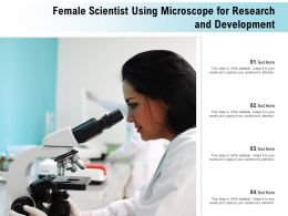 Female Scientist Using Microscope For Research And Development