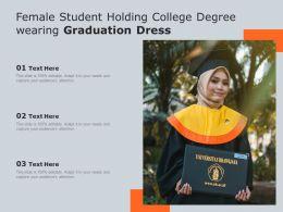 Female Student Holding College Degree Wearing Graduation Dress