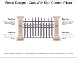 Fence Designer Gate With Side Cement Pillars