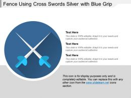 Fence Using Cross Swords Silver With Blue Grip