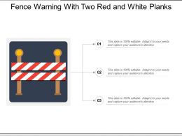 Fence Warning With Two Red And White Planks