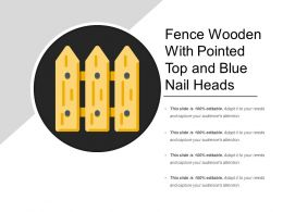 Fence Wooden With Pointed Top And Blue Nail Heads