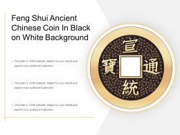 Feng Shui Ancient Chinese Coin In Black On White Background