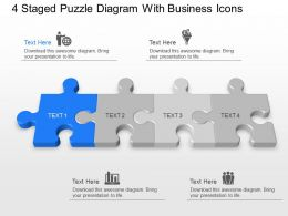 ff 4 Staged Puzzle Diagram With Business Icons Powerpoint Template