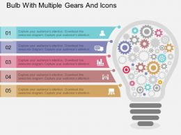 ff Bulb With Multiple Gears And Icons Flat Powerpoint Design