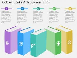 Ff Colored Books With Business Icons Flat Powerpoint Design