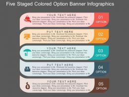 Ff Five Staged Colored Option Banner Infographics Flat Powerpoint Design