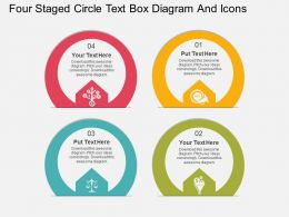 ff Four Staged Circle Text Box Diagram And Icons Flat Powerpoint Design