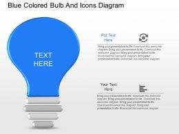 fg Blue Colored Bulb And Icons Diagram Powerpoint Template