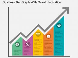 fg Business Bar Graph With Growth Indication Flat Powerpoint Design