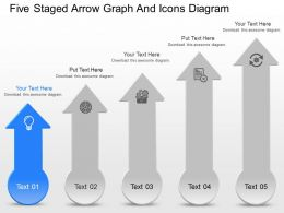 fg Five Staged Arrow Graph And Icons Diagram Powerpoint Template