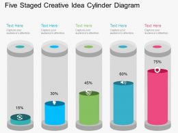 Fg Five Staged Creative Idea Cylinder Diagram Flat Powerpoint Design