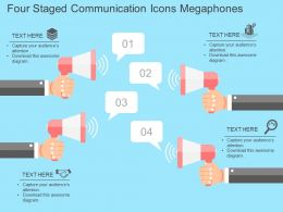Fg Four Staged Communication Icons Megaphones Flat Powerpoint Design