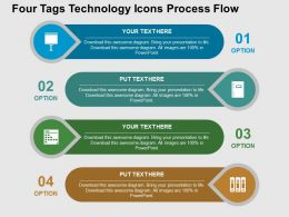 Fg Four Tags Technology Icons Process Flow Flat Powerpoint Design