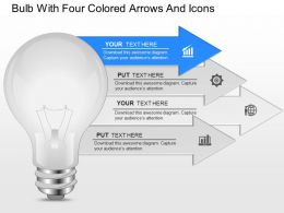 fh Bulb With Four Colored Arrows And Icons Powerpoint Template