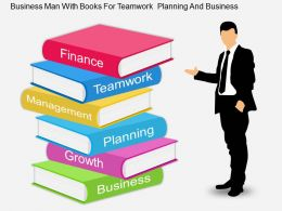 fh Business Man With Books For Teamwork Planning And Business Flat Powerpoint Design