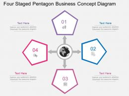 fh Four Staged Pentagon Business Concept Diagram Flat Powerpoint Design