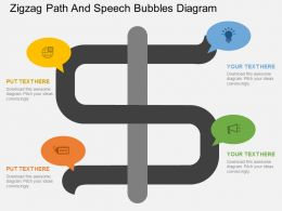 fh Zigzag Path And Speech Bubbles Diagram Flat Powerpoint Design