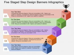 Fi Five Staged Step Design Banners Infographics Flat Powerpoint Design