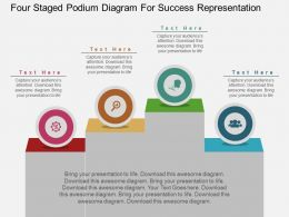 fi Four Staged Podium Diagram For Success Representation Flat Powerpoint Design