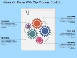 Fi Gears On Paper With Clip Process Control Flat Powerpoint Design