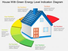 Fi House With Green Energy Level Indication Diagram Powerpoint Template