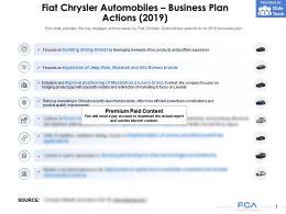 Fiat Chrysler Automobiles Business Plan Actions 2019