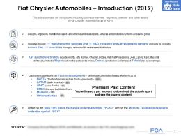 Fiat Chrysler Automobiles Introduction 2019