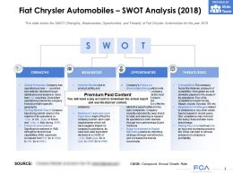 Fiat Chrysler Automobiles Swot Analysis 2018