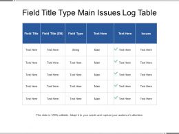 Field Title Type Main Issues Log Table